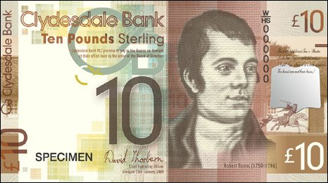 Robert Burns on 10 banknote
