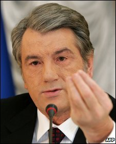 Viktor Yushchenko at a news conference in Kiev, 13 January 2009