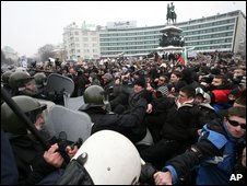 Protesters rioting in Sofia