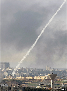 a rocket being launched from the northern Gaza Strip towards Israel