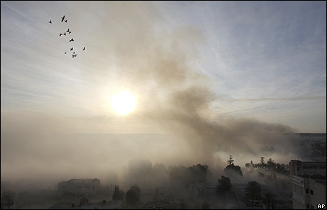 Smoke rises following an explosion caused by Israeli military operations in Gaza city