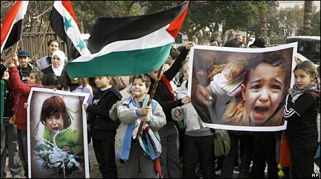 Children in Damascus protest against Israel's offensive in Gaza. Photo: 14 January 2009