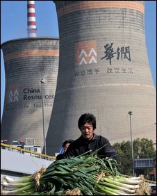 A Chinese farmer transports his produce.