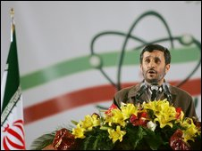 Ahmadinejad at Natanz uranium enrichment facility, 9 April 2007