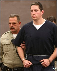 Johannes Mehserle, right, appeares in the East Fork Justice Court on Wednesday, 14 January 2009, in Minden, Nevada