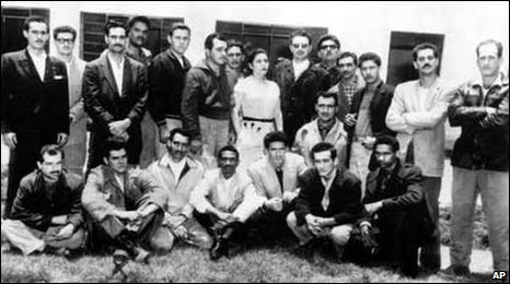 Fidel Castro among 22 Cuban exiles arrested for plotting the assassination of President Fulgencio Batista, picture taken Mexico City. Che Guevara sits second from left.