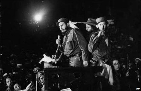 Castro victorious after the Cuban revolution