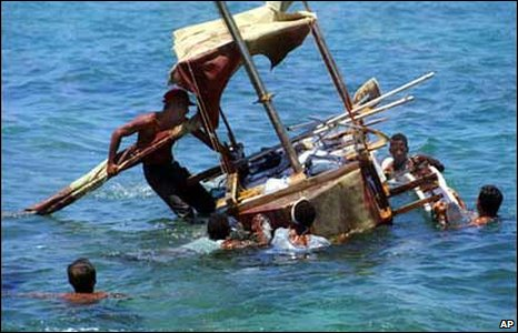 Cubans on a homemade raft