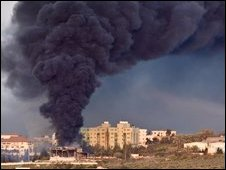 Smoke over Gaza after an Israeli air strike, 15 January 2009