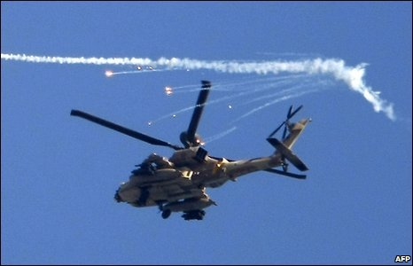 Israeli attack helicopter over Gaza (15/1/2009)
