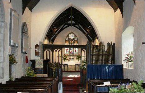 Interior of St Cattwgs Church, Llanmaes