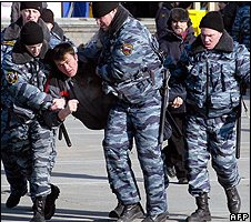 A protest by motorists in Vladivostok was broken up by riot police