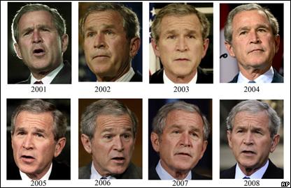 Буш в разные годы своего президентства