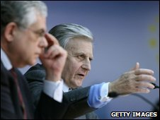 Jean-Claude Trichet, president of the European Central Bank and his deputy Lucas Papademos