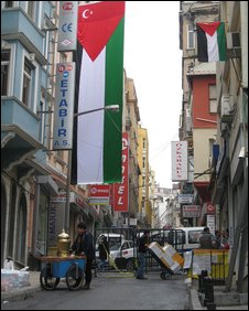 Street near a synagogue in Istanbul