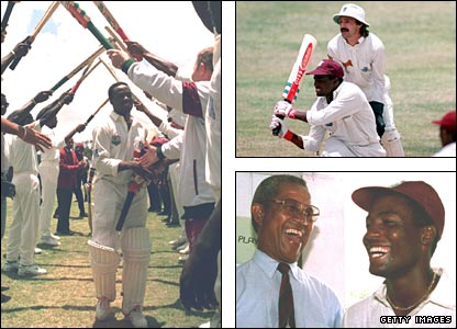 Brian Lara is congratulated (left) after his record-breaking innings (top right, watched by England keeper Jack Russell) and shares a joke with previous record-holder Sir Garry Sobers (bottom right)