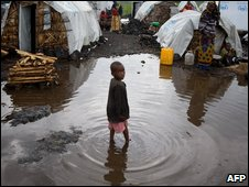 A Congolese refugee camp in Kibati on 12 November 2008