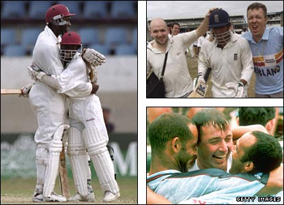 Carl Hooper and David Williams embrace after winning the second Test; Mark Butcher is congratulated by two England fans (top right) and his team-mates in the swimming pool (bottom right) after helping England win the third Test
