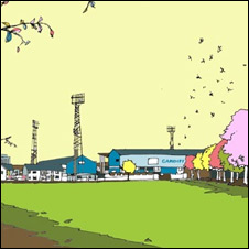 The Ninian Park print, by Jamie Edwards