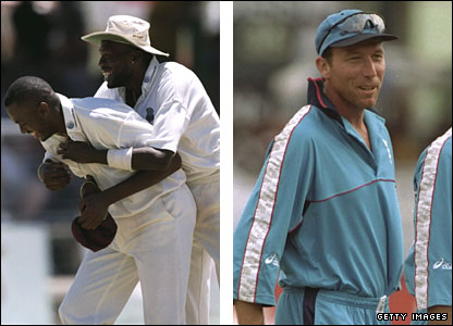 Curtly Ambrose and Courtney Walsh celebrate, while Mike Atherton - pictured carrying the drinks in the subsequent one-day international series - steps down as England captain