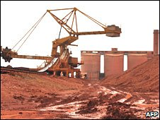 Bauxite processed at the bauxite factory of a Guinea mining firm