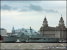 Ark Royal on the River Mersey