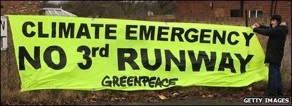 A Greenpeace banner