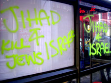 "Graffiti in north London declaring ""Jihad 4 Israel, Kill Jews"""