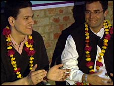 UK Foreign Secretary David Miliband (left) and Rahul Gandhi, general secretary of India's Congress Party