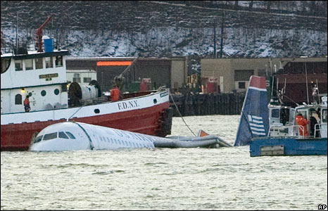 The A320 plane in the Hudson River