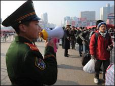 Chinese policeman, Hefei train station, Anhui province