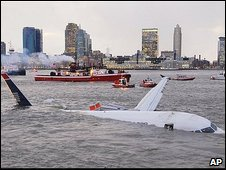 An Airbus 320 US Airways aircraft that went down in the Hudson River is seen in New York