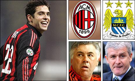 Kaka, Milan boss Carlo Ancelotti, Manchester City manager Mark Hughes