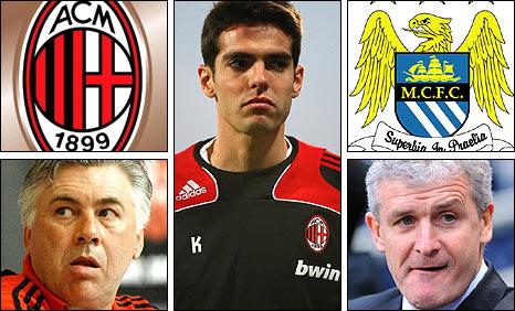 Milan boss Carlo Ancelotti, Kaka, Manchester City manager Mark Hughes