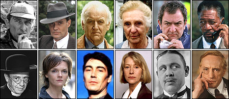 Detectives of film and television: Clockwise from top left, Sherlock Holmes, Inspector Roderick Alleyn, Inspector Morse, Miss Marple, Red Metcalfe, Alex Cross, Lord Peter Wimsey, Hercule Poirot, DCI Jane Tennison, Inspector Lynley, Barbara Havers, Father Brown