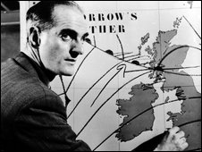 George Cowling presenting a BBC weather forecast