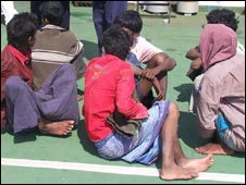 The migrants after they were rescued by the Indian coast guards (Picture: Sanjib Roy)