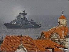 Russian warship off Havana, Cuba
