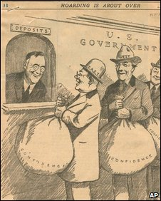 "New York Times cartoon from 1933, showing FDR as a bank teller and customers holding sacks marked ""confidence"""