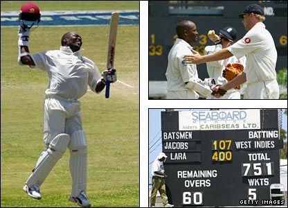 Brian Lara jumps for joy after reaching 400 (left), is congratulated by England's Andrew Flintoff (top right) and the scoreboard tells its own story (bottom right)