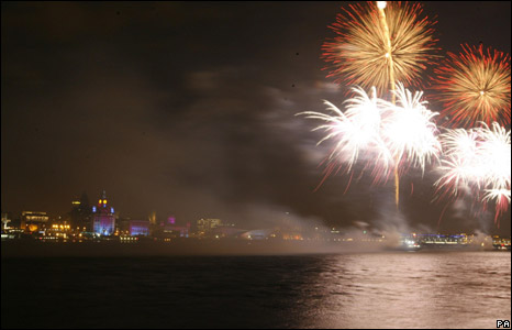 Fireworks display in Liverpool
