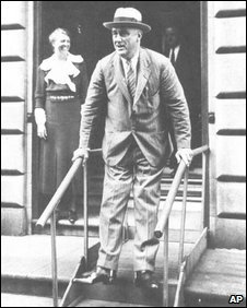 Rare image of FDR in leg braces