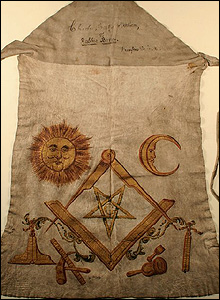 Robert Burns' masonic apron  (Pic courtesy of Dumfries and Galloway Museums)