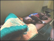 A Zimbabwean child at the Budiriro Cholera Clinic in Harare.