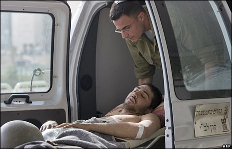 In injured Israeli soldier is brought from the Gaza Strip to a hospital in Beersheba, southern Israel