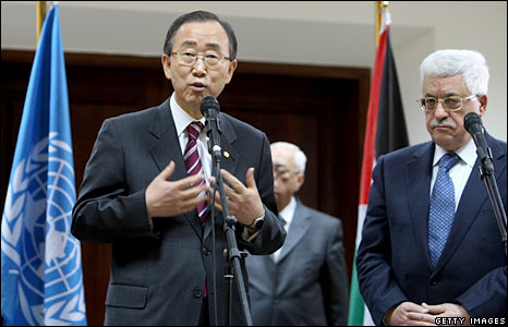 UN Secretary General Ban Ki-moon (left) stands with Palestinian leader Mahmoud Abbas in Ramallah, West Bank