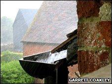 Rain in gutter
