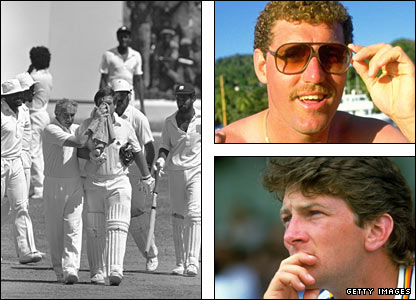 Mike Gatting is helped from the field (left) after having his nose broken by Malcolm Marshall; David Smith (top right) and Greg Thomas (top left) were England debutants in the first Test