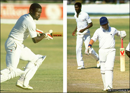 Richie Richardson (left) hit two centuries in the series, while England had no answer to the express pace of bowlers like Michael Holding (right, dismissing Paul Downton)
