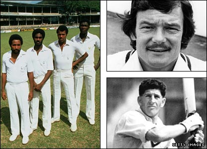West Indies' fearsome pace quartet of Andy Roberts, Michael Holding, Colin Croft and Joel Garner (left); Robin Jackman's South African links (top right) saw a Test cancelled; while the death of Ken Barrington (bottom right) was a sad moment for England